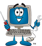 Computer-with-Screw-Driver-and-Wrench-Cartoon